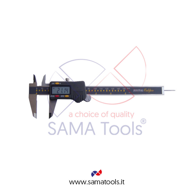 High precision digital caliper, large screen, 3 function, hard snap buttons.