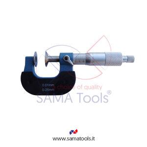 Micrometro con piattelli per misura ingranaggi - Campo 0-25/0,01mm Piattelli D20mm