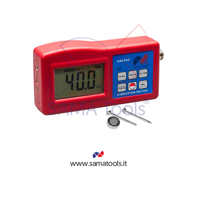 Vibrometro Digitale monoassiale misura dell'accelerazione, velocità,spostamento, RPM, frequenza