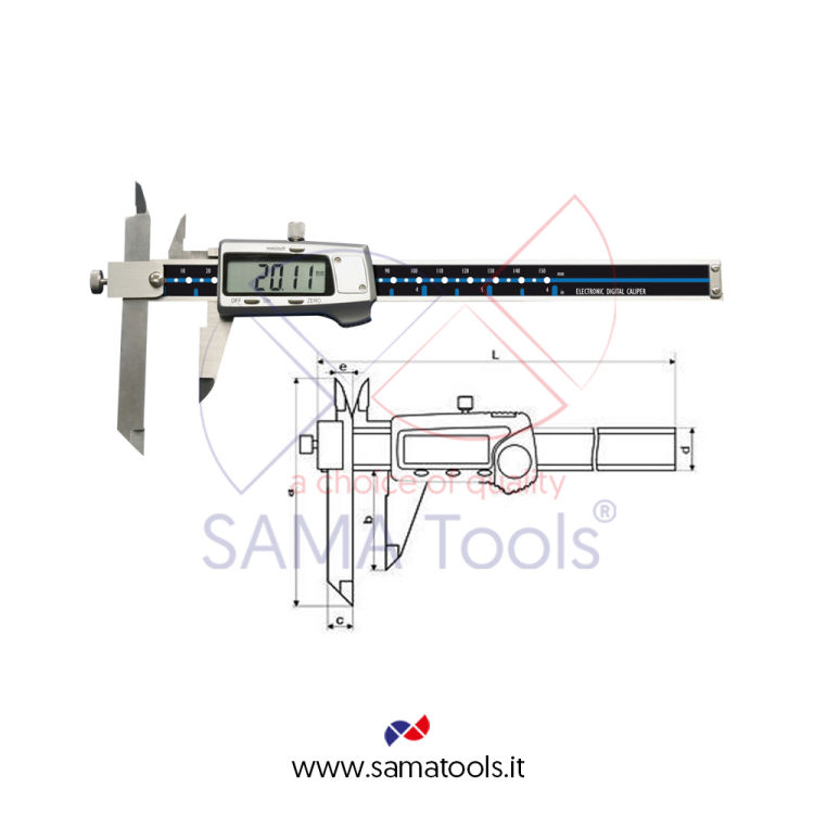 Digital caliper with moving measuring jaw