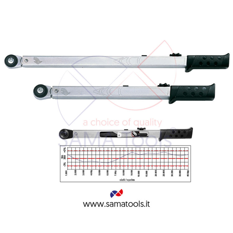 Snap torque wrench variable geometry