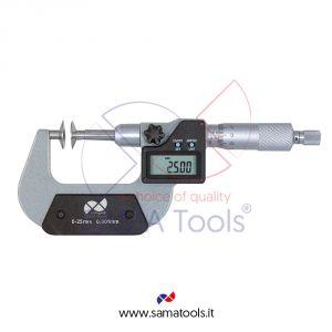 Micrometro digitale con piattelli per misura ingranaggi - Campo 0-25/0,001mm