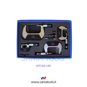 Set Micrometri per esterni centesimale arco pieno - 6pz, campo 0-150/0,01mm