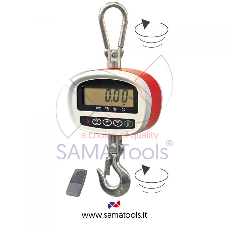 Crane scales with rotating hook and shackle