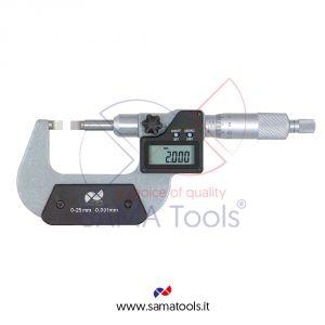 Micrometro digitale da esterni con contatti piatti per misura cave e alberi scanalati punte 0,75x6,50mm - Campo 75-100/0