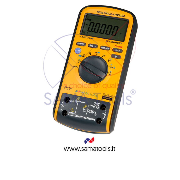 Digital multimeter double display with true RMS and data output. Range: voltage 1000V AC/DC, current 10A AC/DC