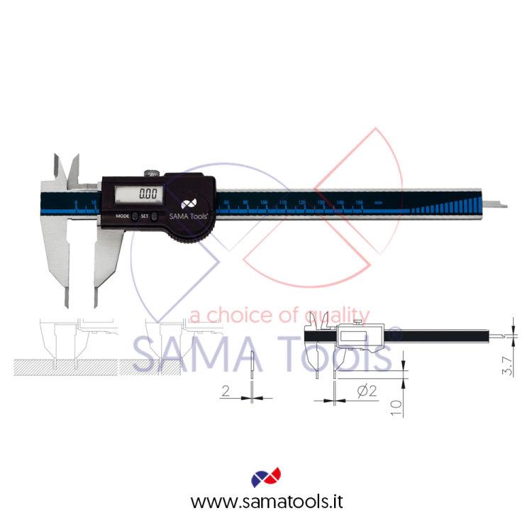 Calibro Digitale IP67 per misurazione canali e fori con elettronica Sylvac e uscita dati - Utile 150x47/0,01mm