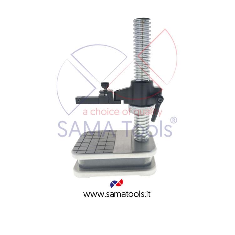 Stativo porta comparatore in acciaio INOX 150x100mm H=220mm con regolazione assiale