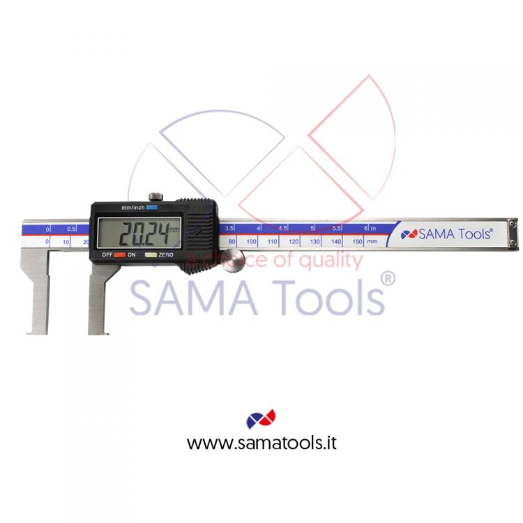 Digital inside groove caliper with flat points